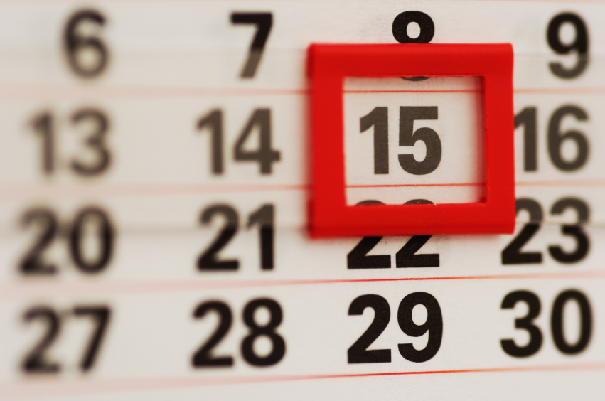 Image of a calendar expressing payment plan